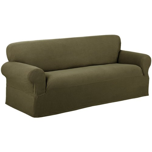 Maytex Stretch Reeves 1 Piece Slipcover Sofa Dark Sage