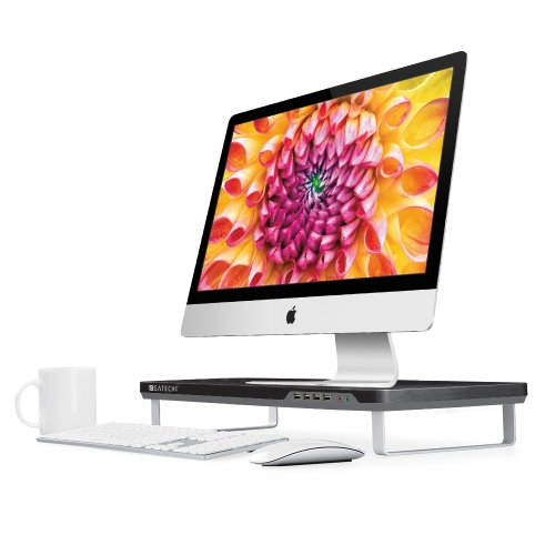 Satechi F1 Smart Monitor Stand With Four Usb Ports And Headphone / Microphone Extension Ports (Black)