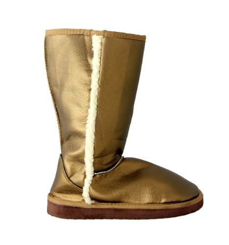Women's Snazzy Metallic Gold Faux Shearling Boots - Size 10