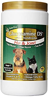 NaturVet 240 Count Glucosamine- DS with Glucosamine and Chondroitin Tablets for Dogs