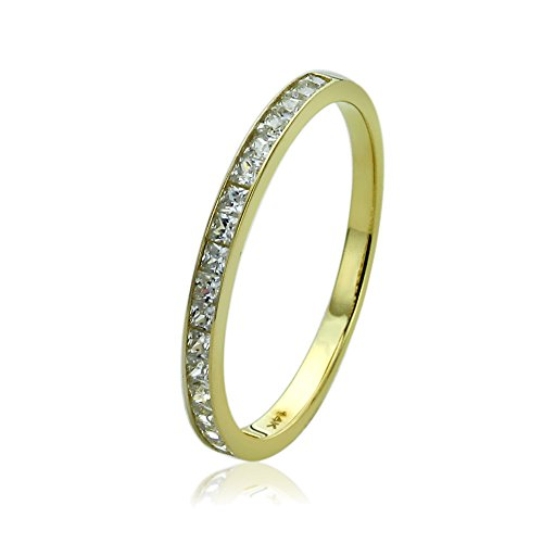 14K Yellow Gold Wedding Ring Princess Cut CZ