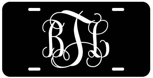 Personalized Monogram License Plate - Black White Fancy Custom Initials Auto Car Tag (Auto Car Tags compare prices)