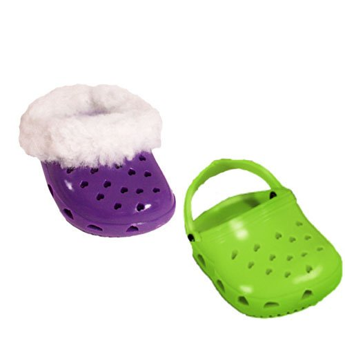 2 Pair of Fun Polliwog Shoes: Purple with Fur Trim and Lime Green, Doll Shoes for 18 Inch Dolls, Fits American Girl Dolls