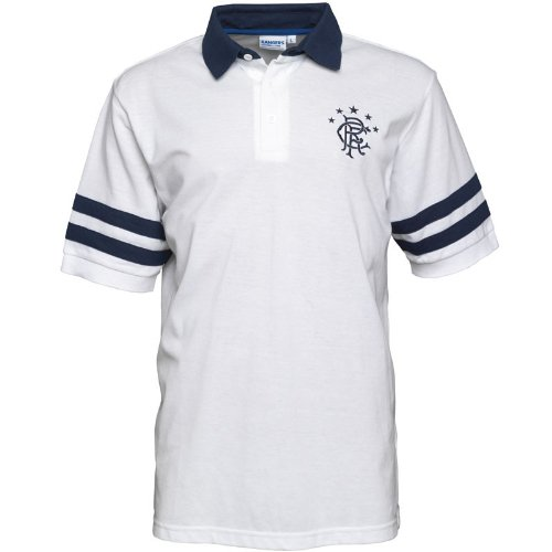 Rangers Mens Stripe Polo White