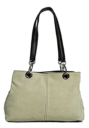 Big Handbag Shop Womens Small Twin Top Multi Zip Pockets Suede Leather Shoulder Bag (3_MP Beige Blk)