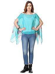 Riti Riwaz Turquoise Chiffon Butterfly sleeve SS16IB50266-XL_