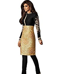 Look N Buy Women's Georgette Black & copper un- sitiched dress mterial (H202_black_free size)