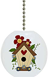Carolina Hardware and Decor 1936F Birdhouse Flower Floral Country Solid Ceramic Fan Pull