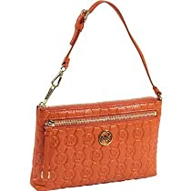 Hot Sale MICHAEL Michael Kors Monogram Embossed Leather Wristlet PERSIMMON