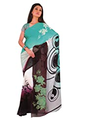 1st Home Multi Color Georgette Printed Saree - B0138CXTU4