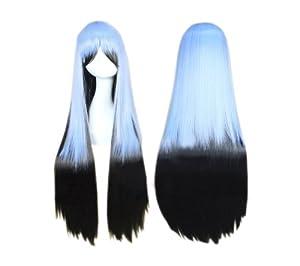 Cosplay peluca pelo negro azul 533 traje recto