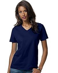 Hanes Ladies\' 5.2 oz. ComfortSoft� V-Neck Cotton T-Shirt - DEEP NAVY - L