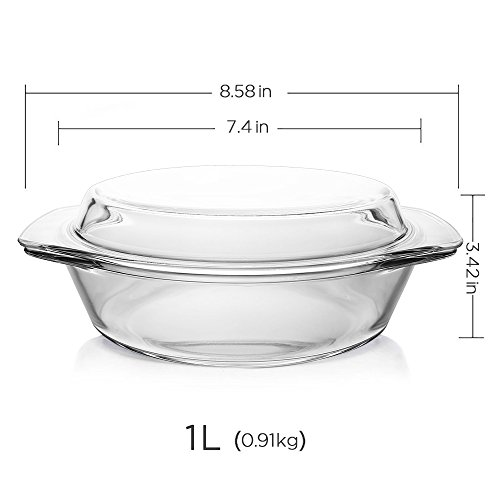Glass Bakeware, Glencreag 1 Liter Round Clear Tempered Glass Casserole Baking Dish with Lid, Heat-resistant and Unbreakable Covered Glass Casserole (1quart Baking Dish compare prices)