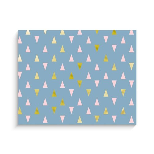 "Lucy Darling Triangle Series Wall Decor, Blue/Blue/Gold, 8"" x 10"" - 1"