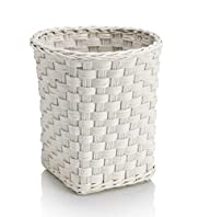 White Rattan Waste Bin