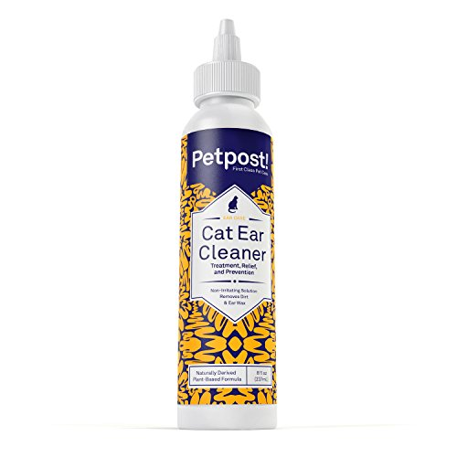 Petpost | Cat Ear Cleaner - Best Ear Mites Remedy for Cats - Natural Coconut Oil Treatment Drops - Alcohol & Medicine Free - 8 Oz. (Cat Ear Cleaner compare prices)