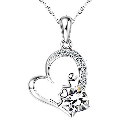 Sephla 14K White Gold Overlay Sterling Silver Forever Lover Heart Pendant Necklace For Women