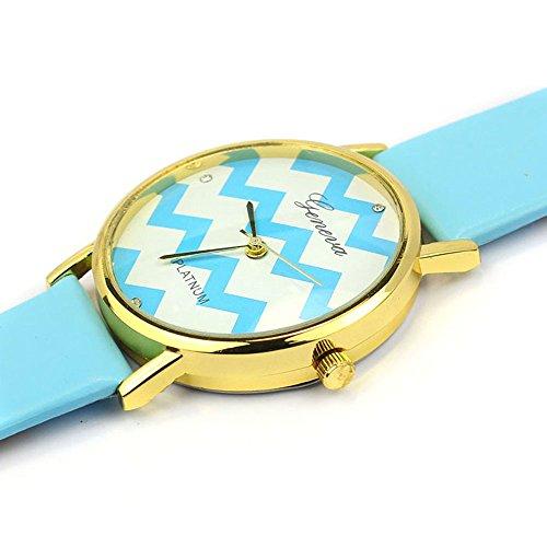 Suppion Moire Watch Pu Leather Quartz Wrist Watches(Blue)