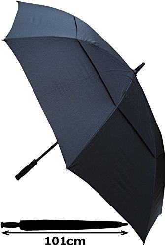 COLLAR AND CUFFS LONDON - Ombrello Golf XL - MOLTO FORTE - Antivento - Automatico - Doppio Telo Per Combattere I Danni Causati Da Ribaltamento - Impugnatura in Legno - 152cm Tela - Nero - Grande