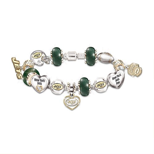 Go Jets! #1 Fan Charm Bracelet by The Bradford Exchange at Amazon.com