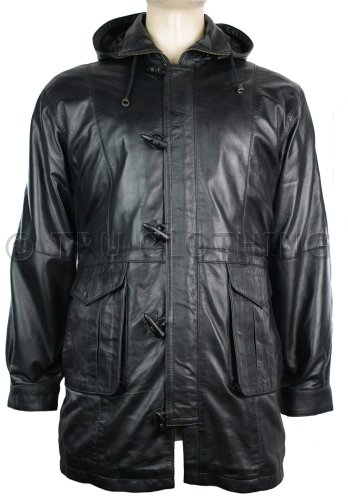 Mens Real Leather Safari Jacket Removable Hood Zipped Soft Napa Black