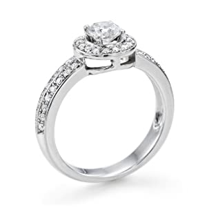 Certified, Round Cut, Solitaire Diamond Ring in 14K Gold / White (1 ct, K Color, VS2 Clarity)