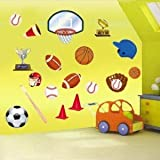 e-baby-store Sport Football Soccer Baseball Basketball Wall, Furniture Stickers For Nursery, Childrens, Baby, Childs, Kids, Boys, Girls, Bedroom, Playroom. Decals, Stickarounds, Murals, Wallpaper, Adhesives.