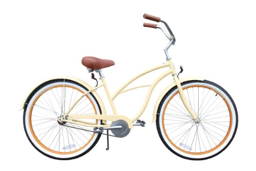 "sixthreezero Women's Scholar 26"" single speed (1sp) cruiser bicycle - cream"