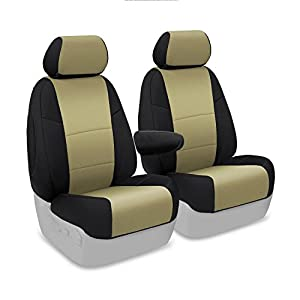 Coverking Custom Fit Front 50/50 Bucket Seat Cover for Select Honda Civic Models - Neosupreme (Tan with Black Sides)