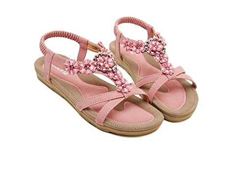 party dress summer cool Women Rhinestone Sandals Flower Beads T-Strap Flip Flop Flats Slip On Thong Refreshing Shoes (Pink Floral/Rhinestone-1, 6 B(M) US/37EU) Cherokee Crop Pants