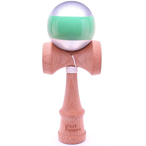 Kaleb Kendama Metallic Silver Green Stripe And Extra String - 1