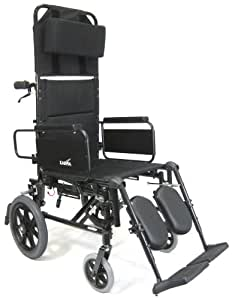 Karman Recliner Wheelchair with Transport Wheels in 22 inch Seat, Black Frame