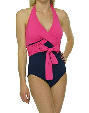 Tommy Bahama Deck Piping Halter Cup Wrapped One Piece Swimsuit (TSW55815P) 4/Pink Martini/Mare