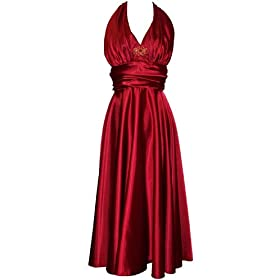 Marilyn Satin Halter Dress Plus Size from amazon.com
