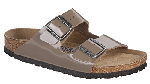 Купить Birkenstock Womens Arizona Soft Footbed Sandal Gray Patent Leather S