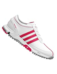 Adidas Lady Traxion Lite FM Golf Shoes White-Pink 9 Medium