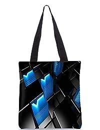 Snoogg Abstract Blue V Design Digitally Printed Utility Tote Bag Handbag Made Of Poly Canvas