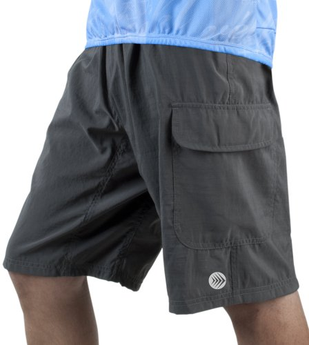 Men'S Atd Cargo Short Baggy Padded Mountain Bike Cycling Shorts Charcoal X-Large front-1033660