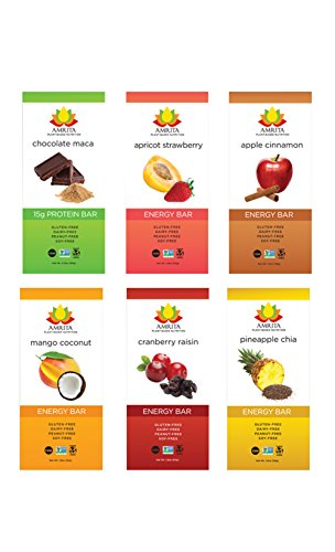 Paleo Variety Pack of Energy High Protein Bars - Gluten-Free, Soy-Free, Dairy-Free, Non-GMO Certified - Vegan, Raw, Kosher - Kid-School Safe Snack - Clean fuel for athletes - Pack of 12 bars by Amrita (Gluten Free Breakfast Bars compare prices)