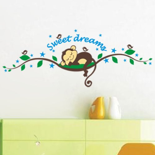 Sweet Dreams Monkeys And Tree Birds Giant Wall Sticker Decals ,Super For Boys And Girls Nursery Room Home Decor Decal Children'S Room front-835235