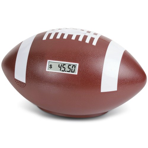 Football Coin Counting Piggy Bank - Count Coins and Save Money - 9""