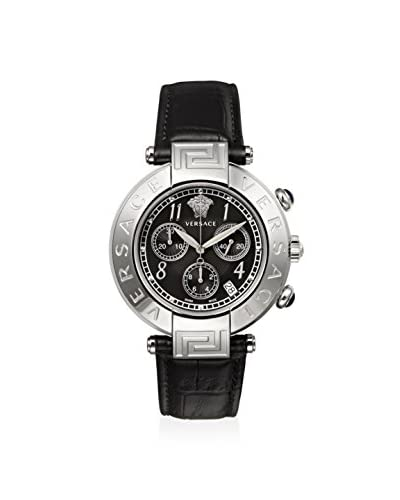 Versace Women's Q5C99D009 New Reve Stainless Steel Watch with Black Leather Band