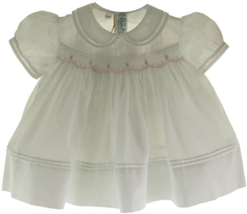 Feltman Brothers Baby Girls White & Pink Smocked Dress Newborn Girls Take Home Outfit front-682882