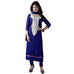 Rozdeal Women Georgette Embroidered Unstitched Half Sleeve Blue Anarkali Suit