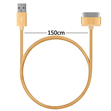 4.5ft Long iPhone 4 Cable,USB Sync and Charging Cable for iPhone 4/4S,iPhone 3G/3GS,iPad 1/2/3,iPod[Blue+black+gold]