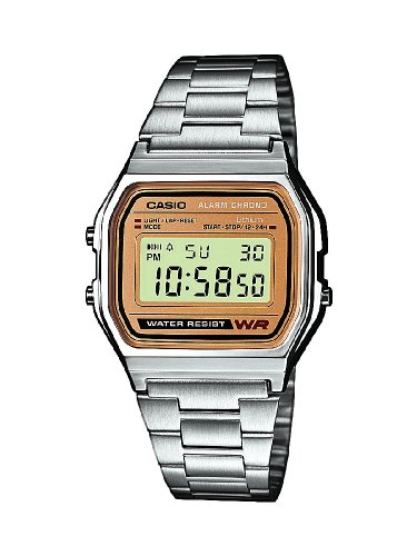 Casio Men's Classic Retro Digital Watch A158WEA-9EF with Stainless Steel Bracelet