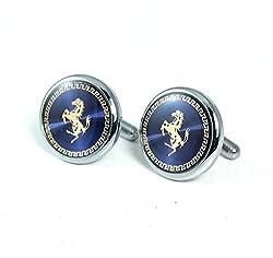 the jewelbox navy blue with gold horse round cufflink