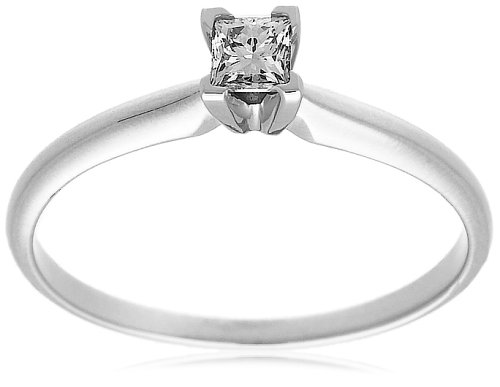 10k Choice of White or Yellow Gold Princess Cut Solitaire Diamond Engagement Ring (1/4 ct, J-K Color, I2-I3 Clarity)