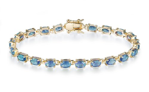 Yellow Gold Overlay Sterling Silver Blue Topaz Bracelet