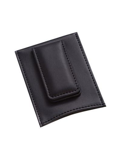 Bey-Berk Leather Magnetic Money Clip & Wallet, Black